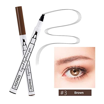 KOBWA Lápiz de Cejas con 4 Puntas, Natural Tattoo Eyebrow Pen, Waterproof Brow Gel