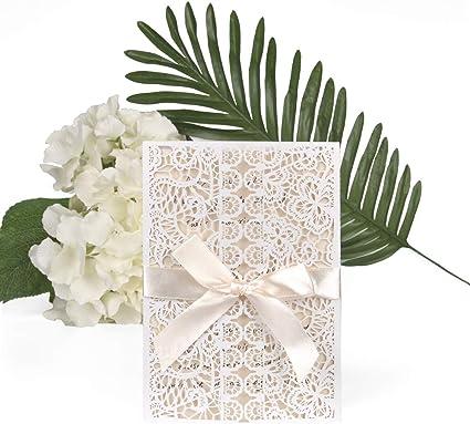 Laser Cut Invites Mariage avec Papier Imprimable et des Enveloppes pour Mariage Principalement pour Les Mariages JinSu 10Pcs Carte dinvitation de Mariage Anniversaires et Plus