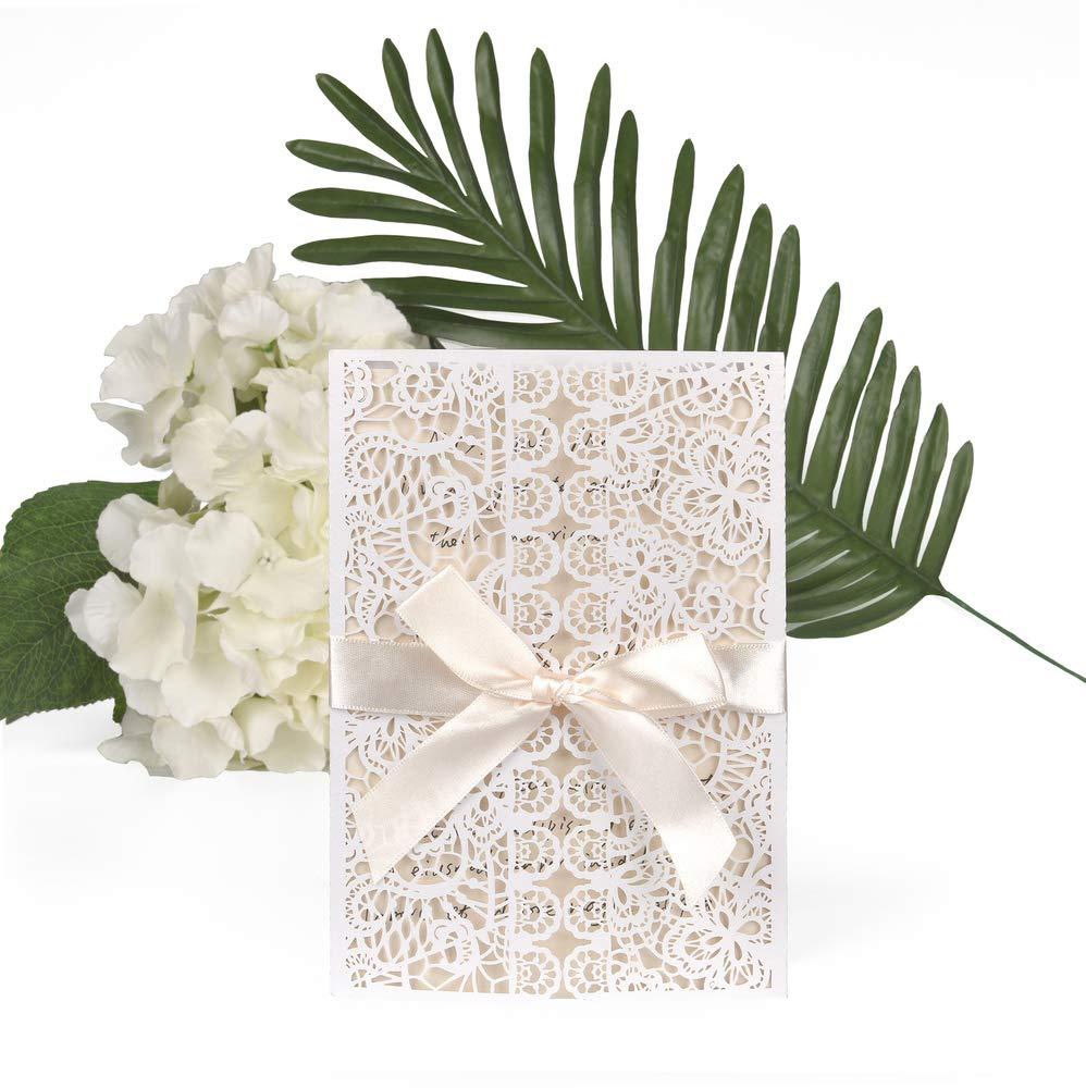 ewtshop Lot de 20 cartes d'invitation de mariage avec enveloppes et ruban EAST-WEST Trading GmbH