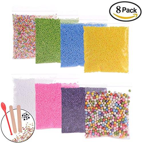 71000pcs Styrofoam Balls for Slime and DIY Crafts Supplies(8Pack), Colorful Foam Beads For Making Floam, School Arts, Fillter - Free Bonus Fruit Slice + Googly Eyes + Slime Tools Set