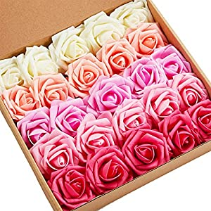 N&T NIETING Artificial Flowers, 25pcs Gradient Red Fake Flowers with Stem for Wedding, Party Decoration, Home Display, Baby Shower, Valentines Day Gifts for Him Her Kids