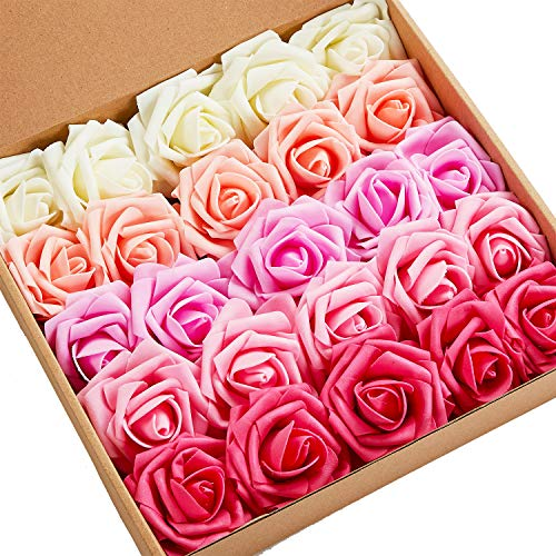 - N&T NIETING Roses Artificial Flowers, 25pcs Real Touch Artificial Foam Roses Decoration DIY for Wedding Bridesmaid Bridal Bouquets Centerpieces, Party Decoration, Home Display (SeriesA Red)