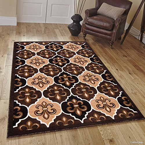 Allstar 8x10 Chocolate Modern Rectangular Accent Rug with Ivory and Mocha Floral Fleur De Lis Design (7' 9