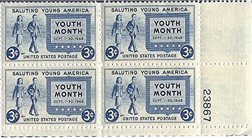 1948 Saluting Young America 3 Cent Postage Stamp Plate Block MNH Scott #963