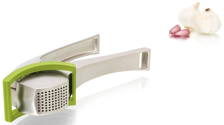 Aluminium Garlic Press with Unique Scraper in Green by Vacu Vin