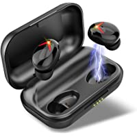 Wireless Headphones, Bluetooth 5.0 Headphones 120H Playtime, IPX7 Waterproof True Wireless Earbuds with Deep Bass, Stereo Calls, Low Latency, Instant Pairing, CVC 8.0 Noise Isolation for Gym Running