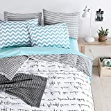 BuLuTu Black Letters Print Kids Duvet Cover Set Twin Cotton White,Reversible Stripe Super Soft Comforter Cover With 2 Pillowcases Zipper, 2018,Gifts for Girls,Women,NO COMFORTER
