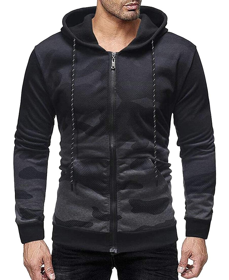 Miracle Men Full Zip Hoodie Pockets Long Sleeve Sports Workout Sweatshirts