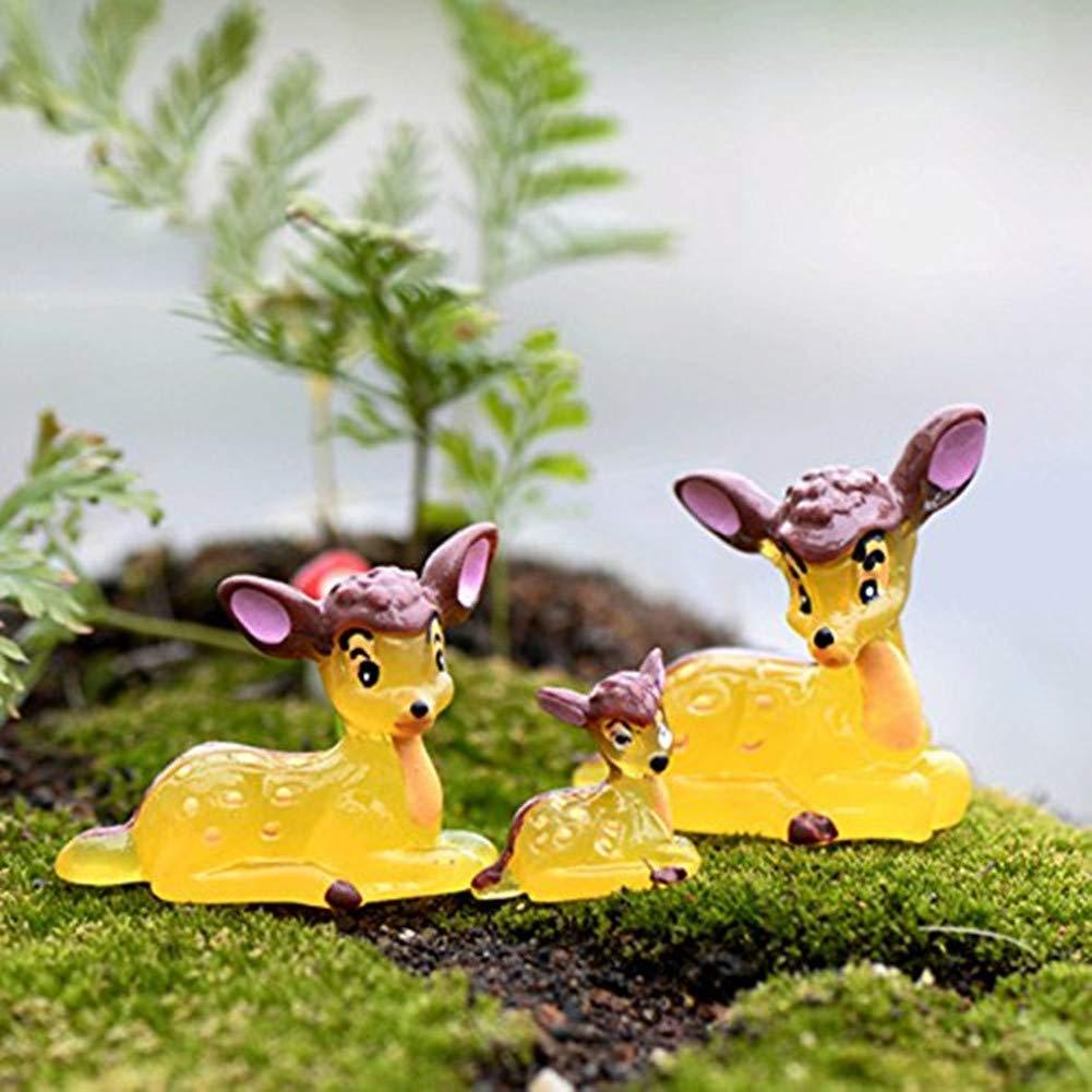 Milopon miniature Deer Garden Fairy Garden Animal Ornament Craft DIY Home Garden Decor 3pcs