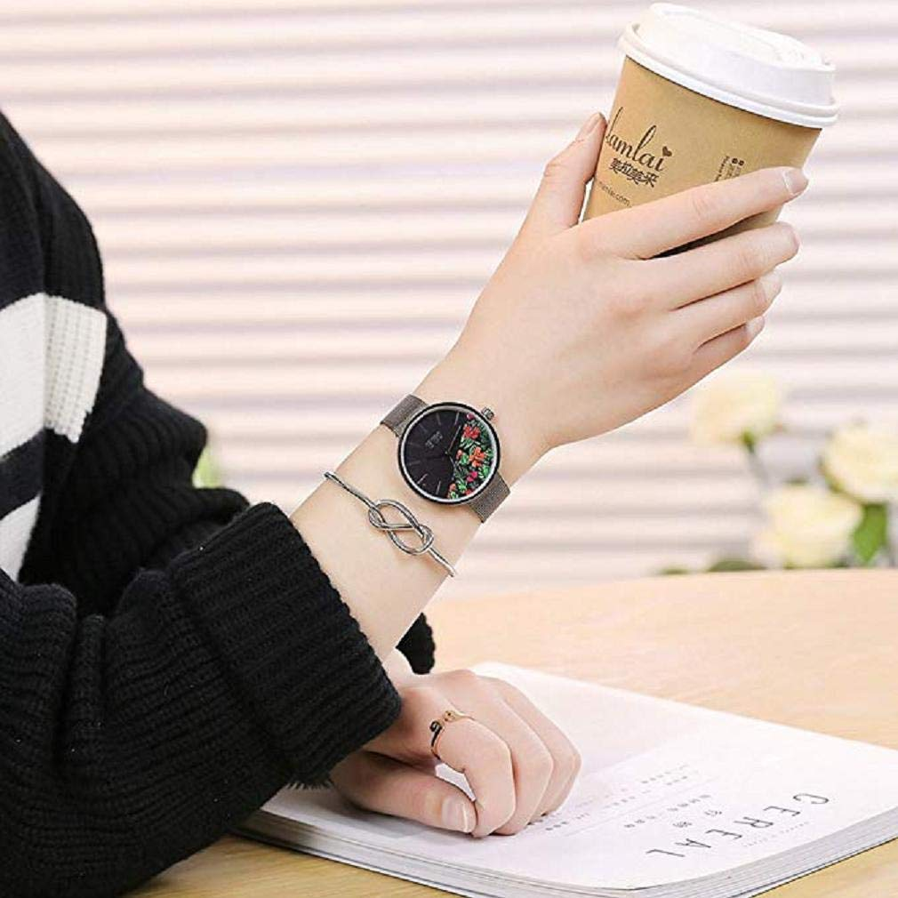 Promoción!Reloj de Cuarzo para Mujer Flor de Moda Banda de Malla ...