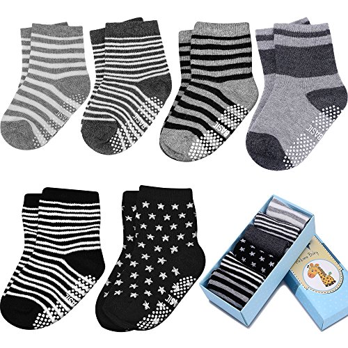 Toddler&Baby Socks, Non Slip, 6-Pack boxed set for 1-3 Year Baby Girls&Boys