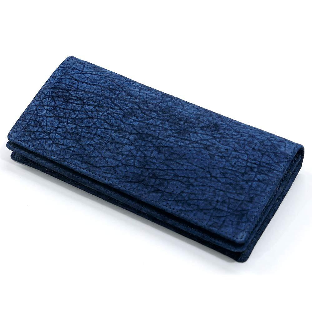 AIZOME-HIPP1075-2 長財布 メンズ かぶせ 本革 札入れ 無双仕様 通しまち 小銭入れなし 長札 大容量 ヒポポタマス カバ革 藍染 B07FSNM12H