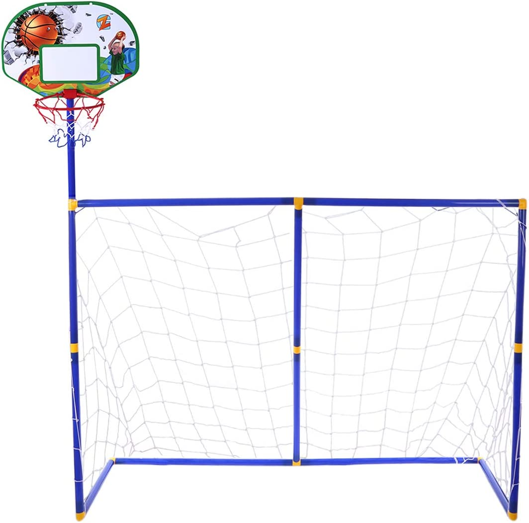 Ggoddess 2 in 1 Football Goal Post Net Household Practice Toys Basketball Hoop for Kids Sport Play with 1 Basketball 2 Football