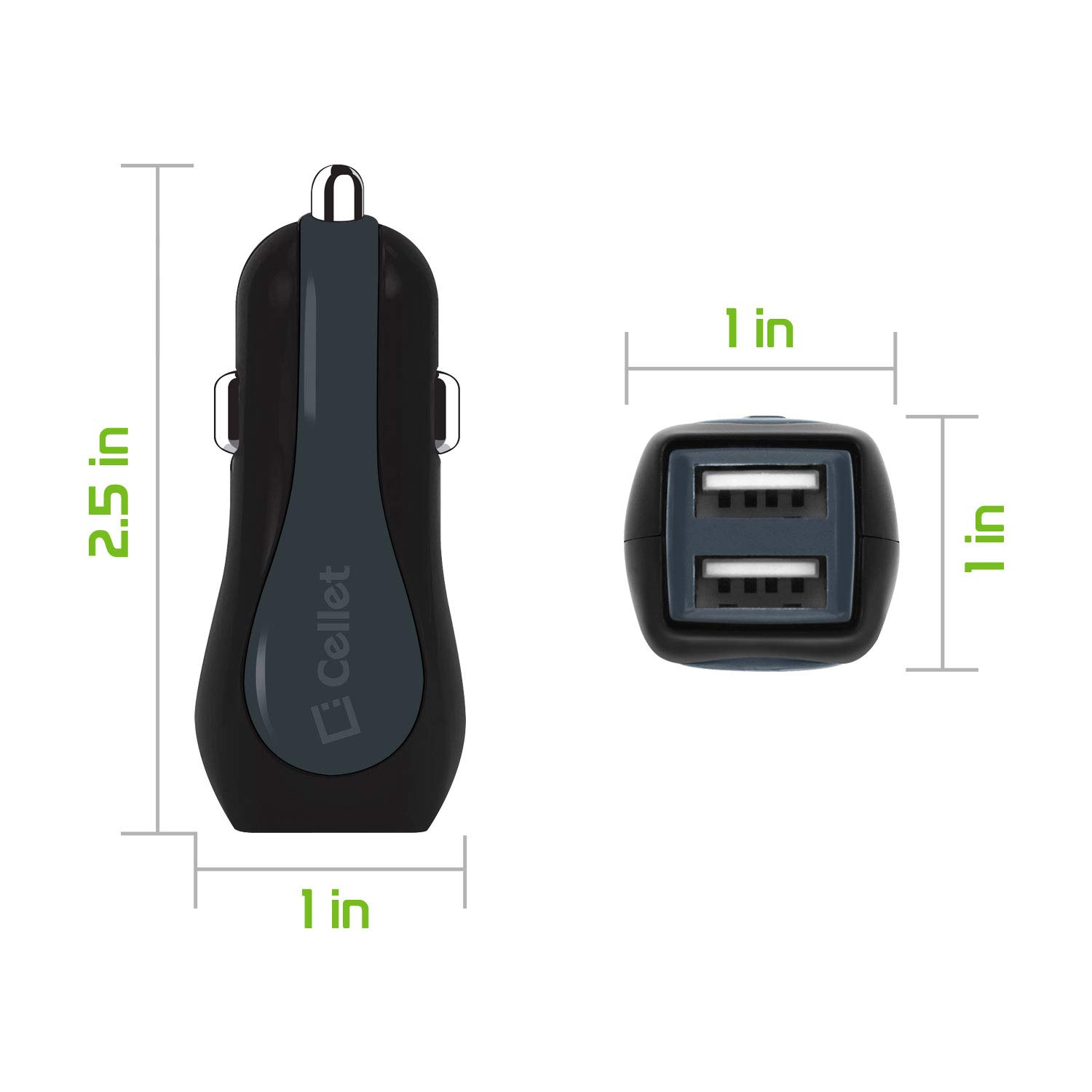 E5 Cruise E4 Plus Cellet PMICROMS21 Fast Charging 2.4Amp Output Dual USB Car Charger with 4ft Long Micro USB Cable for Motorola Moto E4 G6 Play E5 Plus E5 Play G6 Forge 4351521459 E5 Supra