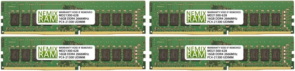 4 x 16GB NEMIX RAM 64GB Kit DDR4-2666 UDIMM 2Rx8 for ASUS Motherboards