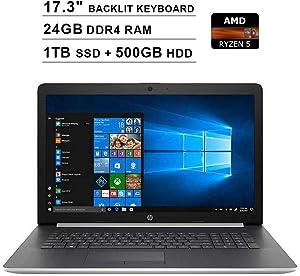 2020 Newest HP Pavilion 17.3 Inch Touchscreen Laptop (AMD 4-Core Ryzen 5 3500U up to 3.7 GHz, AMD Radeon Vega 8, 24GB DDR4 RAM, 1TB M.2 SSD (Boot) + 500GB HDD, Backlit KB, DVD, WiFi, HDMI, Windows 10)