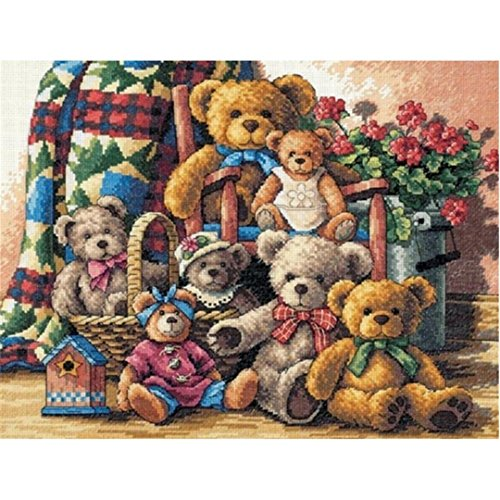 Kuwoolf Dimensions Needlecrafts Counted Cross Stitch Kits 14 Count Teddy Bear Gathering Cartoon Kids Room Decor Gift