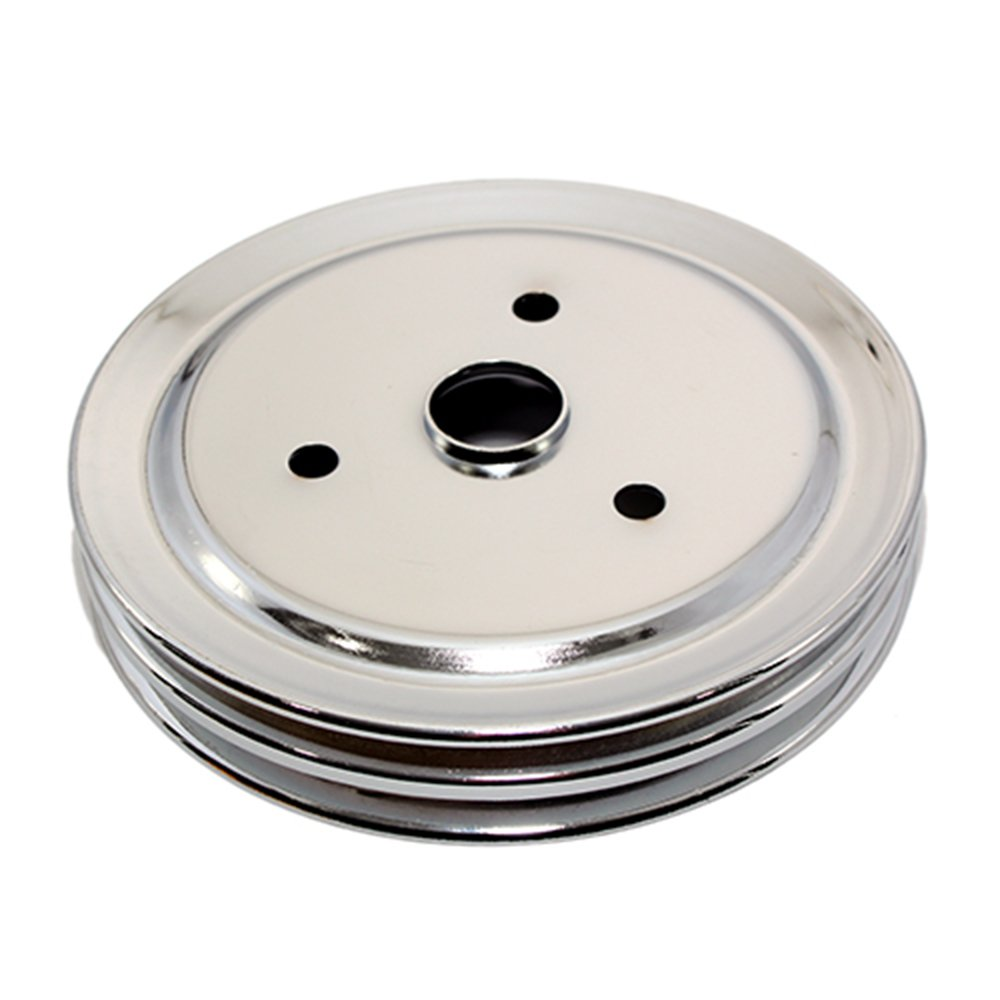 Assault Racing Products A9603 Small Block Chevy Chrome 2 Groove Crankshaft Pulley 7.3' Short Water Pump SBC 350 400