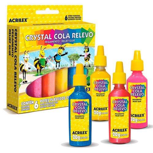 Cola Crystal Relevo Jelly Acrilex 20g 02306 6 Cores