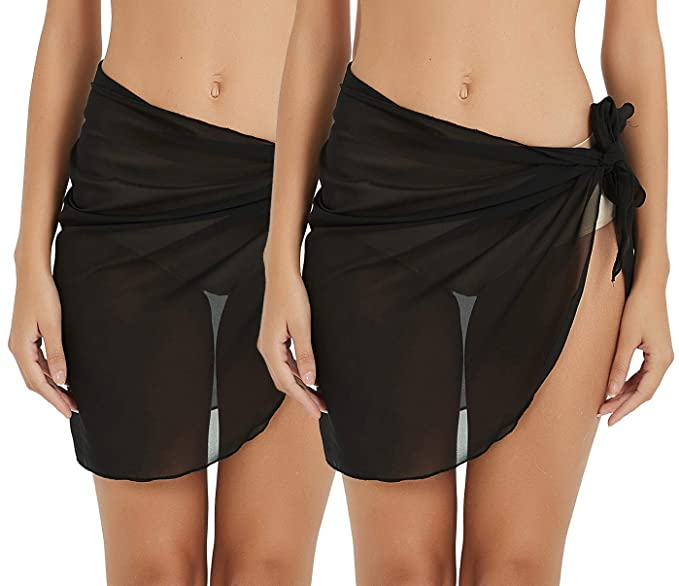 90e72e2f66 Sythyee Women's Sarong Wrap Beach Swimwear Chiffon Cover Up Short Pareo Bikini  Swimsuit Wrap Skirt Bathing