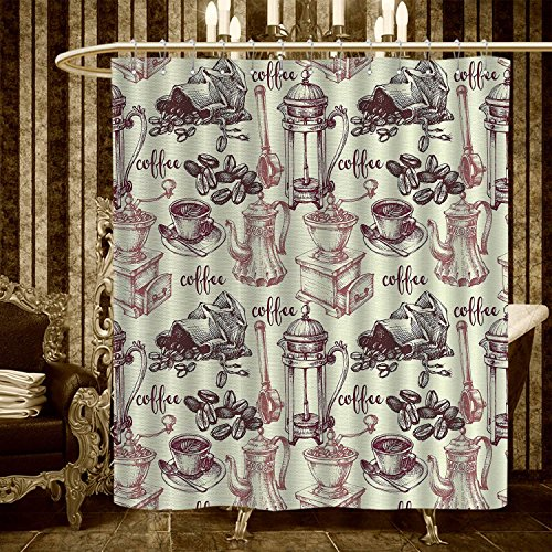 (alisoso Coffee Shower Curtains Waterproof Detailed Sketch of Coffee Making Process from Bean to Brewing Vintage Methods Fabric Bathroom Decor Set with Hooks 36