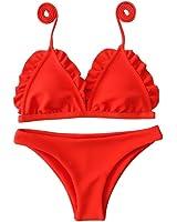 Cysincos FemmeMaillot de Bain 2 Pièce avec Triangle Bikini de Plage Imprimé Floral Tops et Shorts Emsemble Bohème Halter Meilleur Gros Pas Cher fXBCtNf