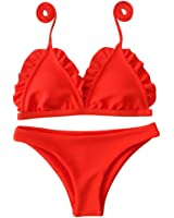 Cysincos FemmeMaillot de Bain 2 Pièce avec Triangle Bikini de Plage Imprimé Floral Tops et Shorts Emsemble Bohème Halter