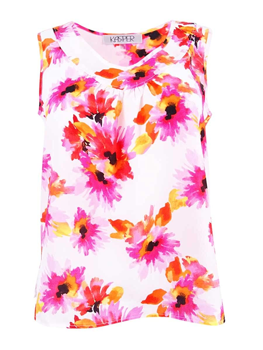 cd361a1578194 Amazon.com  Kasper Womens Petites Floral Print Sleeveless Blouse Pink PS   Clothing