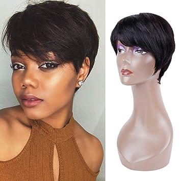 Queentas Pixie Cut Short Human Hair Wigs
