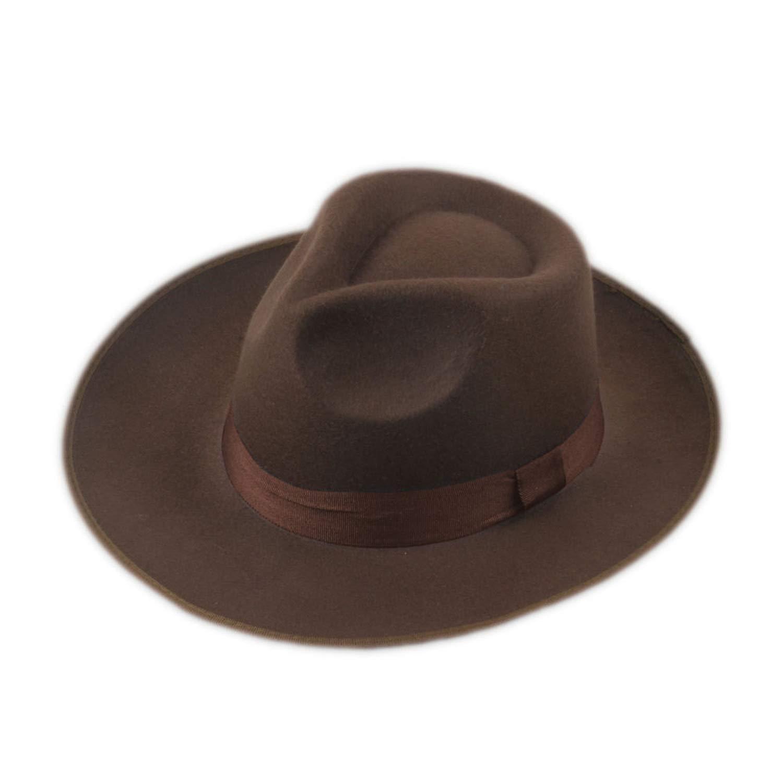 ce65a2246d8 DOSOMI Vintage Men Women Hard Wool Felt Hat Wide Brim Fedora Trilby Panama  Hat Gangster Cap