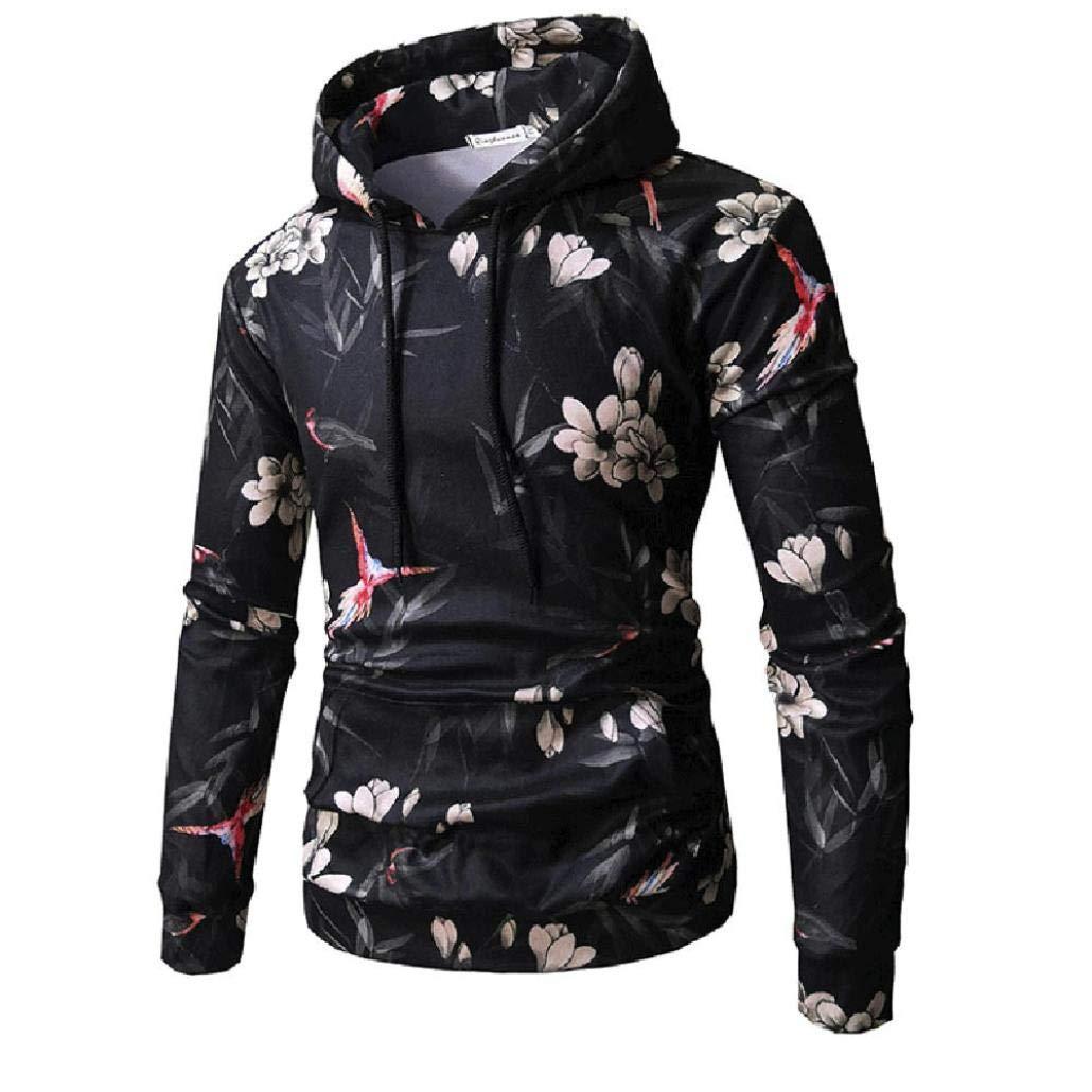 Mens Pullover Casual Flower Print Hooded Sweatshirt Autumn Winter Long Sleeve Jacket Outwear Tops