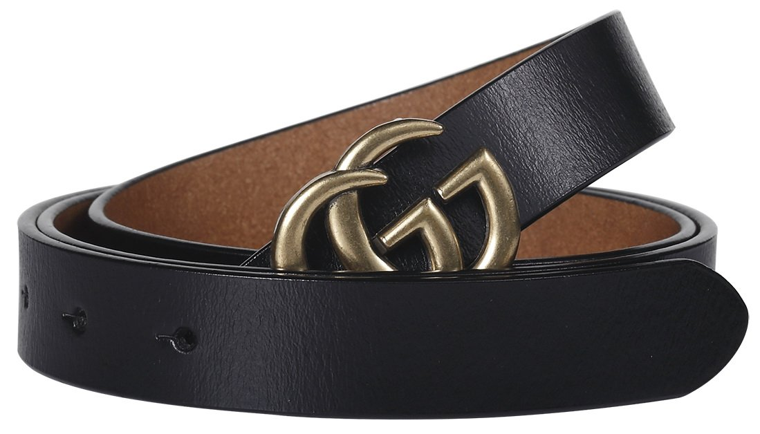 GU Lady Belt BankerTedb (Fast US Deliver Guarantee Fulfilled by Amazon) G-Style Unisex Women Business Casual Belt [2.5CM] (105cm (Waist<30''), Black)