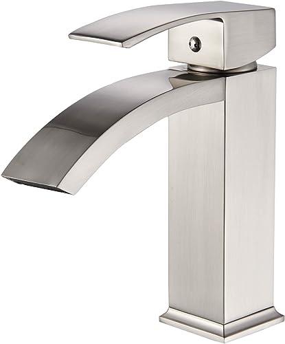 Senlesen Waterfall Spout Single Lever Bathroom Sink Faucet Vanity Basin Mixer Tap Brushed Nickel
