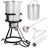 Stark Deluxe 30 QT Aluminum Turkey Deep Fryer Pot Boiling Lid and Gas Stove Burner Stand Injector Thermometer CSA 55,000 BTU