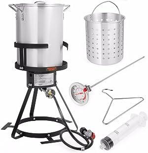 Barton Deluxe 30 QT Aluminum Turkey Deep Fryer Pot Boiling Lid Seafood Cajun Gas Stove Burner Stand Injector Thermometer CSA 37,000 BTU
