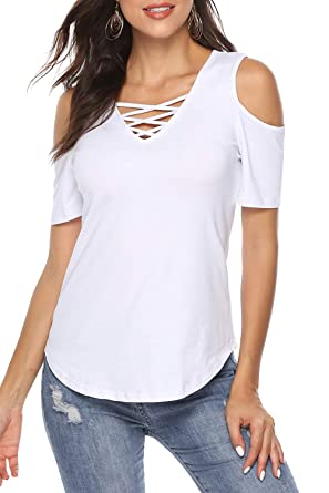 3b5e1cfa20c5 Zattcas Womens Short Sleeve Cotton Shirts Cold Shoulder V Neck Basic Plain T  Shirts Tops,