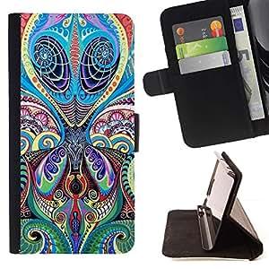 For Apple (4.7 inches!!!) iPhone 6 / 6S Case , Diseño floral del arte del tatuaje de la tinta de la India- la tarjeta de Crédito Slots PU Funda de cuero Monedero caso cubierta de piel