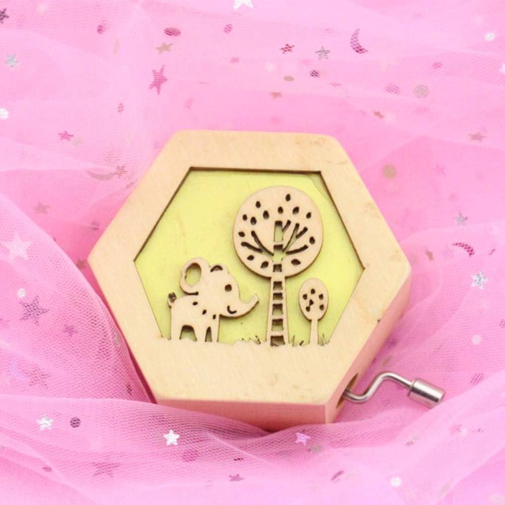 1pc Mignon de Girafe Bo/îte /à Musique en Bois Gravure Clockwork Music Box Mini Musique manivelle Jouet pour Les Enfants Cadeau