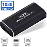 Hengyuanyi Video Capture Card HDMI to USB 2.0 Live Streaming HD 1080P 30fps Audio Record via DSLR Camcorder Action Cam for Gaming, Teaching, Video Conference&Live Broadcasting