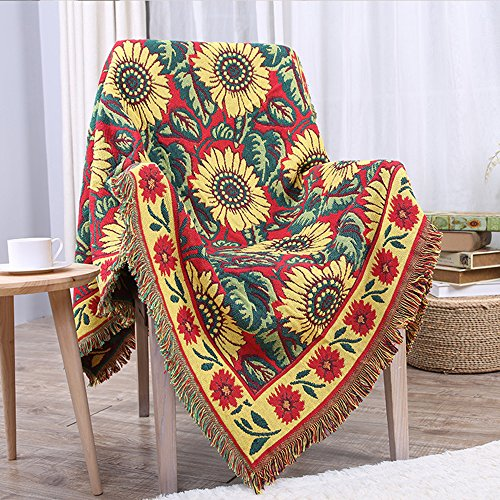 Hysenm 100% Cotton Multi-function Blanket Super Soft Reversible with Tassel Throw Blanket, Red Sunflower 180x230cm (Conditioning Sunflower)