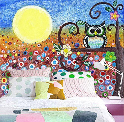 3D Moon Owl Tree 432 Wall Paper Wall Print Decal Wall Deco Indoor