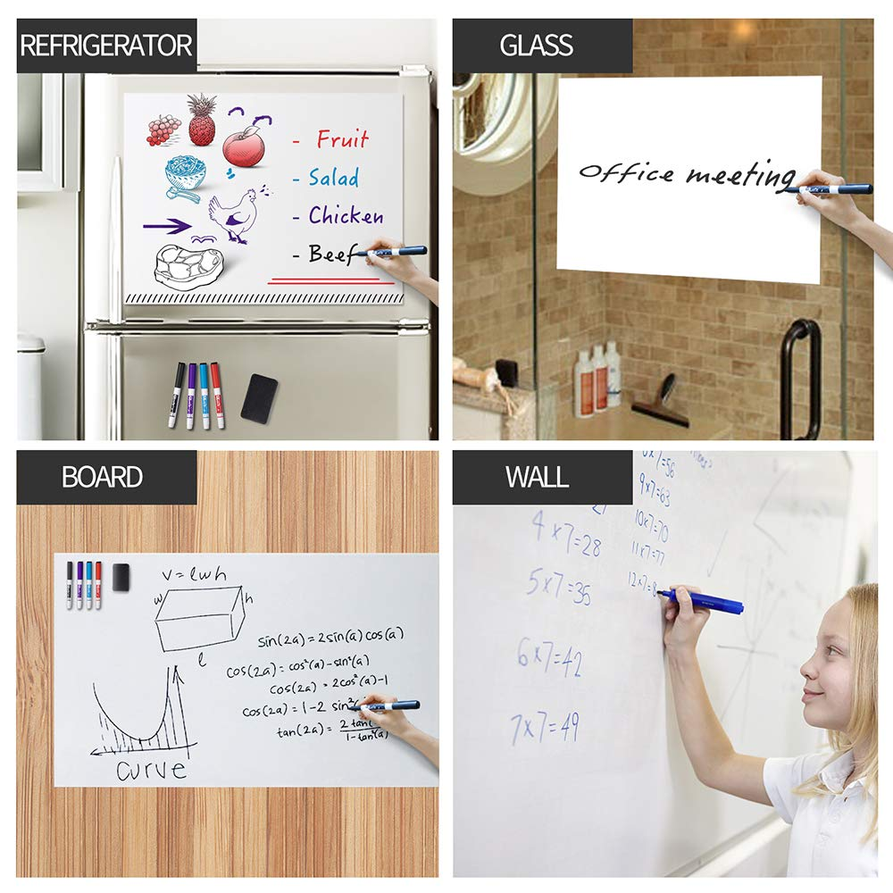 Black Board Contact Paper with Chalks Magnets UCMD Magnetic Chalkboard Large Size6.56x3.28 ft for Wall Magnetic Wall Sheet Alphabet Magnets Learning Writing Blackboard for Kids