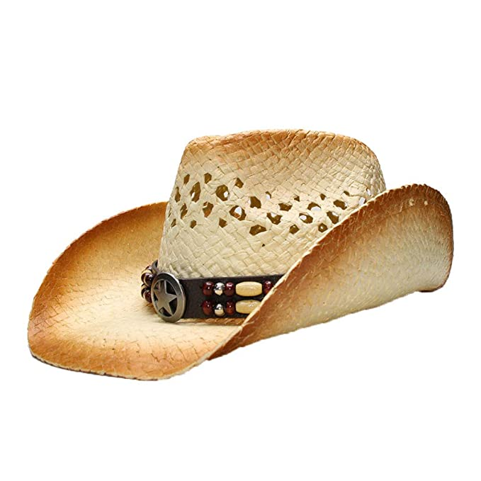 Amazon.com: Sombrero de paja unisex estilo vaquero con banda ...