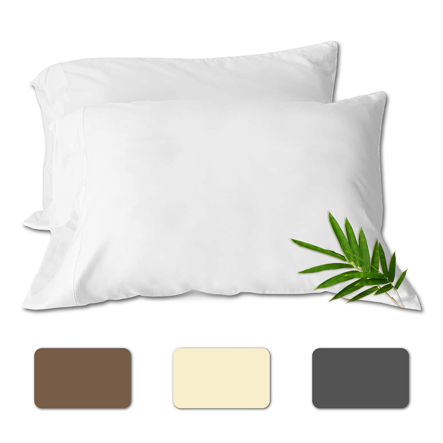 """ComfyHome Bamboo Cooling Pillowcase Set of 2 Organic Pillow Case Queen and King Size Bamboo Viscose – Bedding Envelop Style – Quick Dry and Anti-Odor – (White King, 20""""x40"""")"""