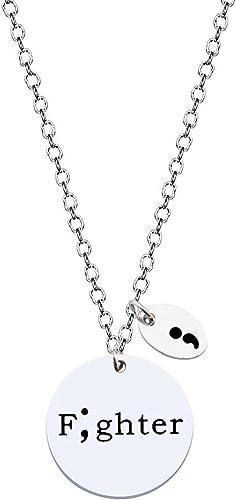 Gold Tone Semi Colon Depression Necklace Suicide Prevention Awareness Jewelry