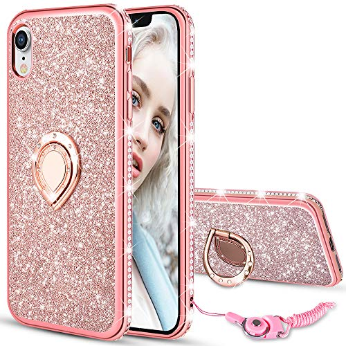 Maxdara Case for iPhone XR Glitter Case Ring Grip Holder Stand Bling Sparkle Diamond Rhinestone Protective Bumper Luxury Pretty Fashion Girls Women Case XR 6.1 inches (Rosegold) -