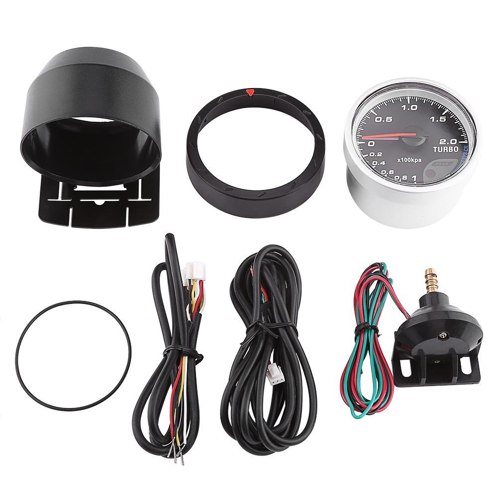 Acouto Universal 60mm Led Turbo Boost Gauge Meter Black Shell For Race Car Gauges Wiring Auto Racing 0