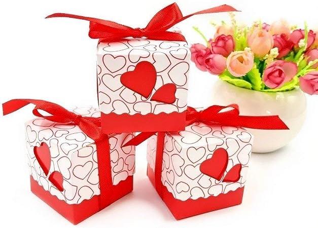 JZK 50 x Caja para caramelos regalo bombones recuerdos bautizos bodas con cinta para boda cumpleaños fiesta bienvenida bebé sagrada comunión detalle, rojo Corazón: Amazon.es: Hogar