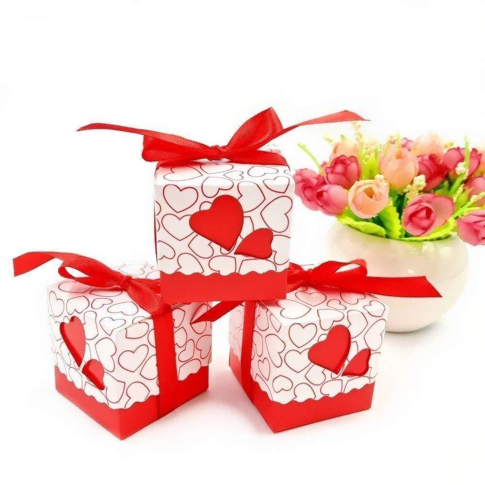 Caja para caramelos regalo bombones recuerdos bautizos bodas con cinta para boda cumpleaños fiesta bienvenida bebé sagrada comunión detalle, rojo Corazón
