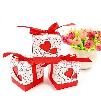 JZK 50 x Caja para caramelos regalo bombones recuerdos bautizos bodas con cinta para boda cumpleaños
